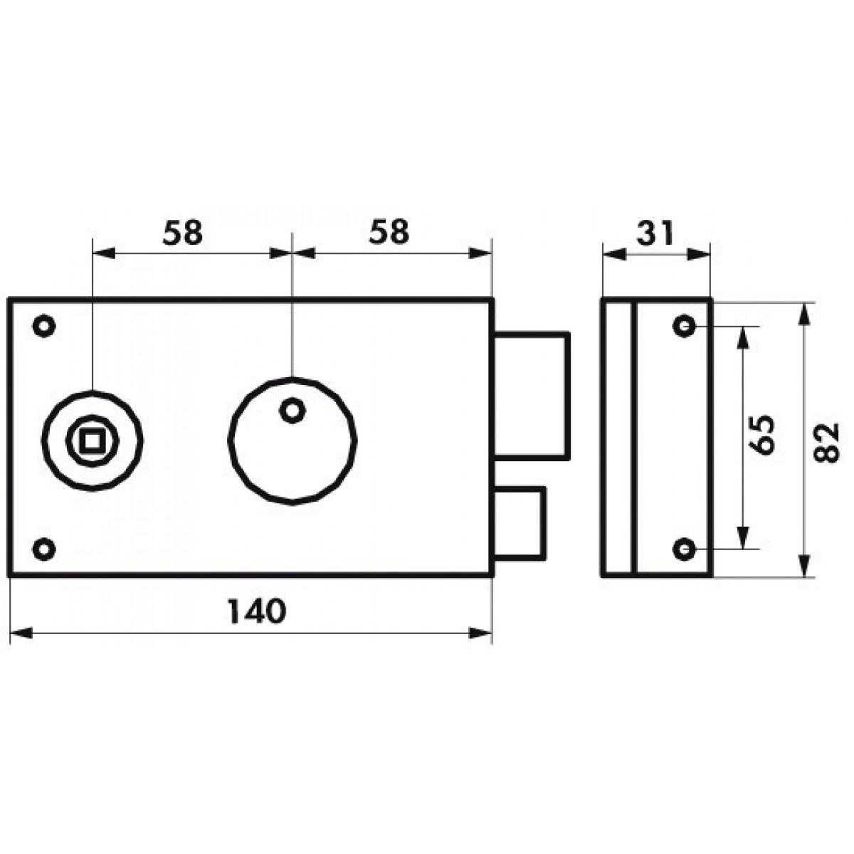 Serrure horizontale pêne dormant 1/2 T Thirard - Noir - Droite - l x h - 82 x 140 mm