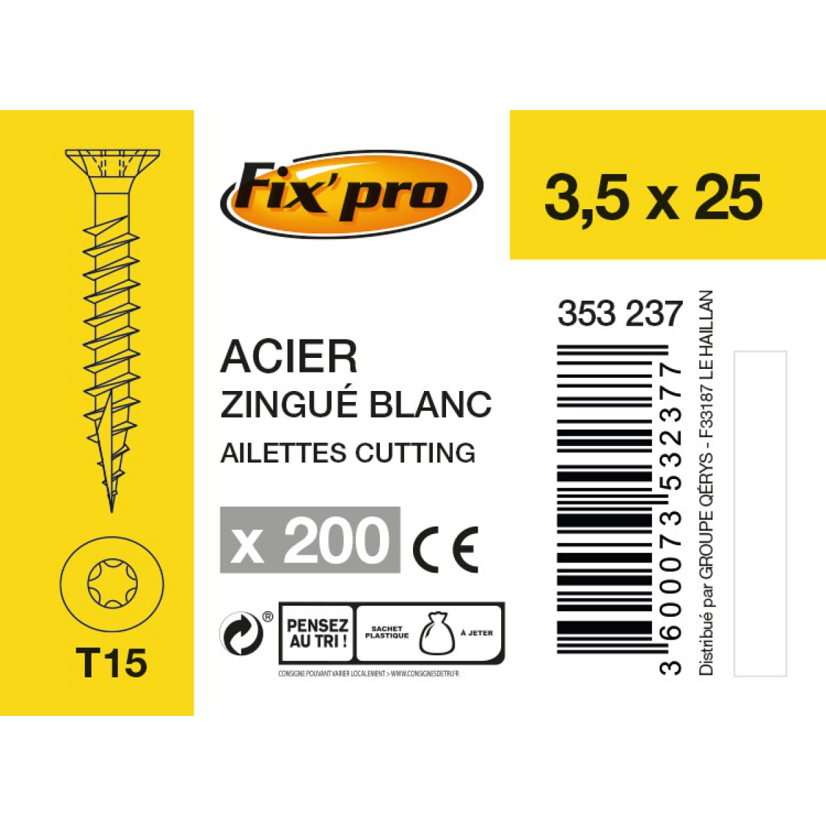 Vis à bois tête fraisée TX - 3,5x25 - 200pces - Fixpro