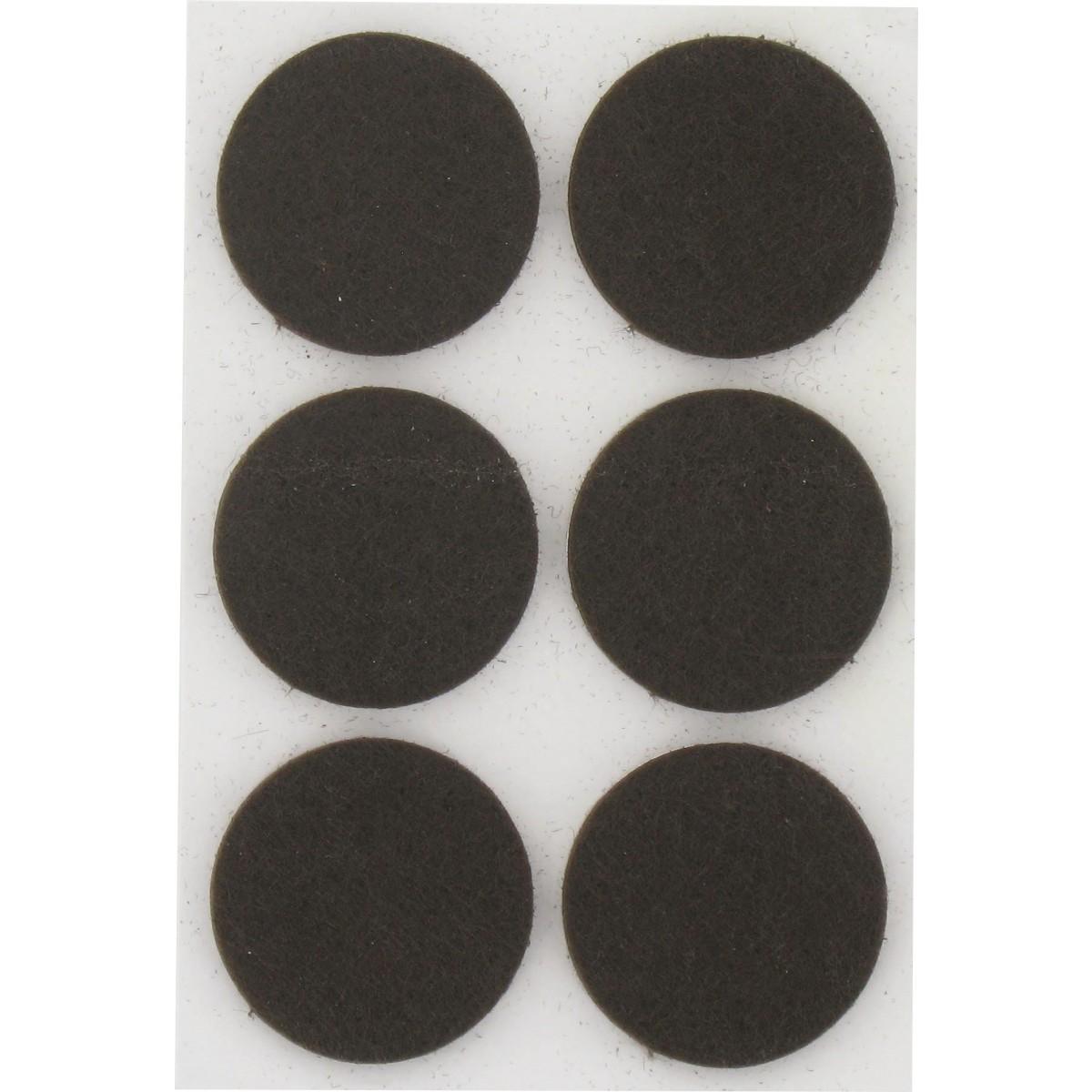 Patin feutre marron adhésif PVM - Diamètre 28 mm - Vendu par 6