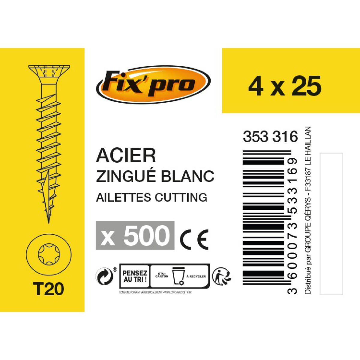 Vis à bois tête fraisée TX - 4x25 - 500pces - Fixpro