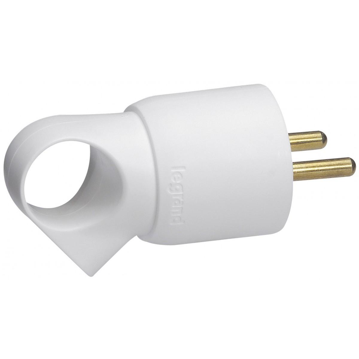 Fiche plastique avec anneau 2P+T 16 A Legrand - Mâle - Blanc