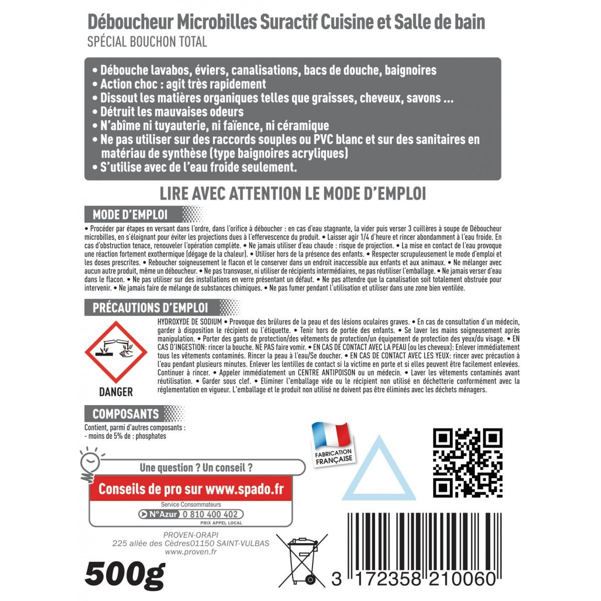 Déboucheur soude Spado - Micro-billes - Flacon 500 g