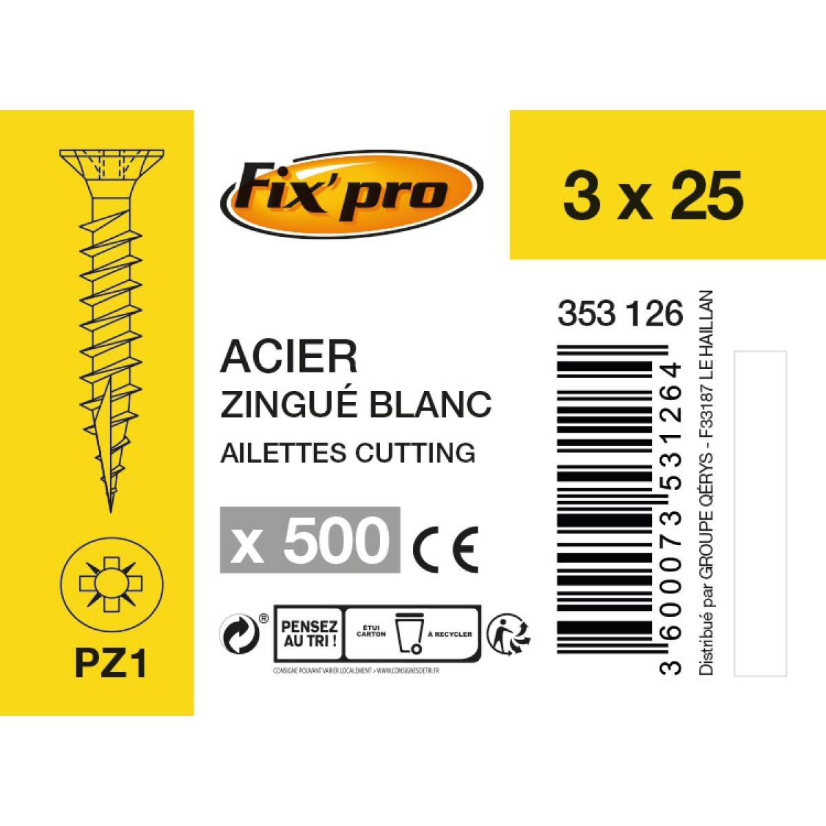 Vis à bois tête fraisée PZ - 3x25 - 500pces - Fixpro