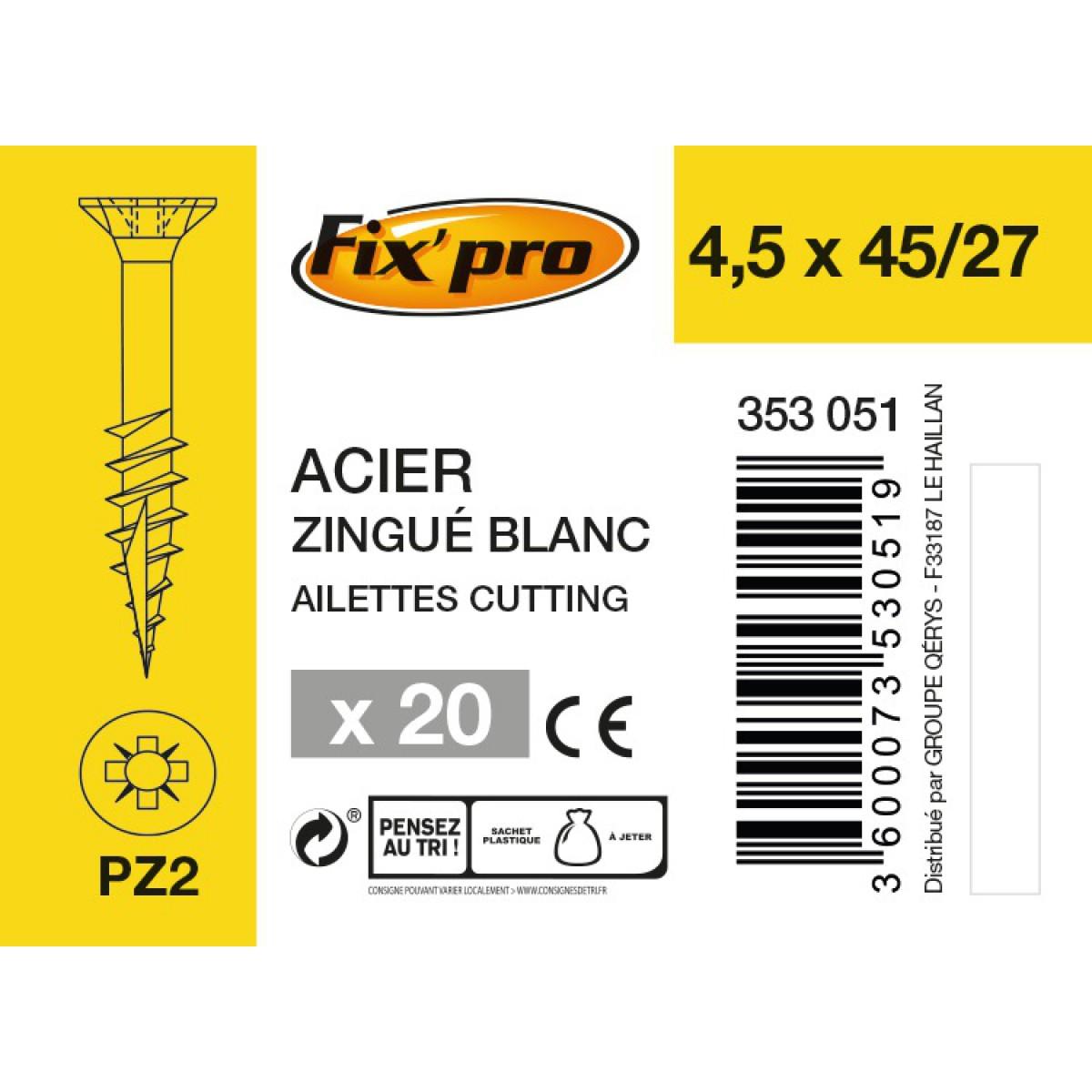 Vis à bois tête fraisée PZ - 4,5x45/27 - 20pces - Fixpro