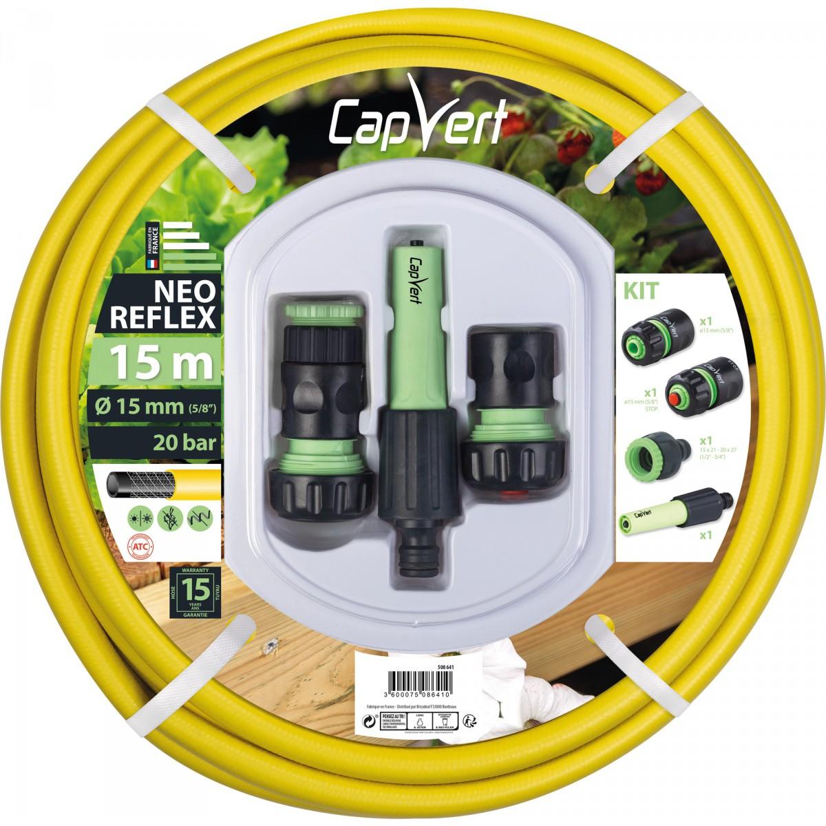 Batterie tuyau d'arrosage Néo Reflex Cap Vert - Diamètre 15 mm - Longueur 15 m