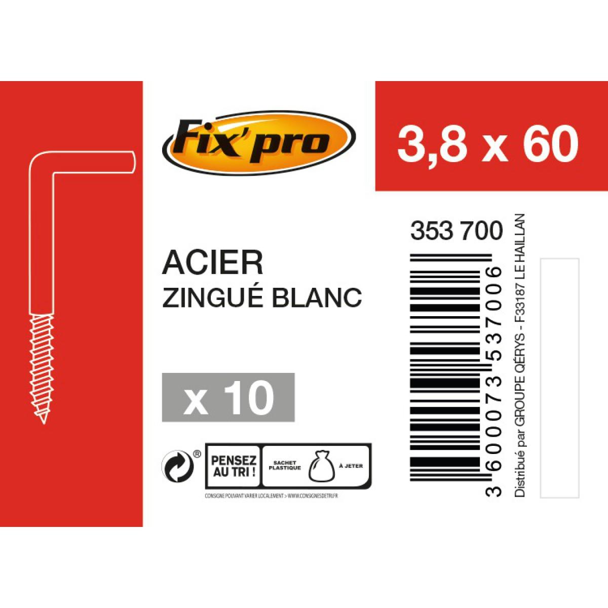 Gond à vis acier zingué - 3,8x60 - 10pces - Fixpro