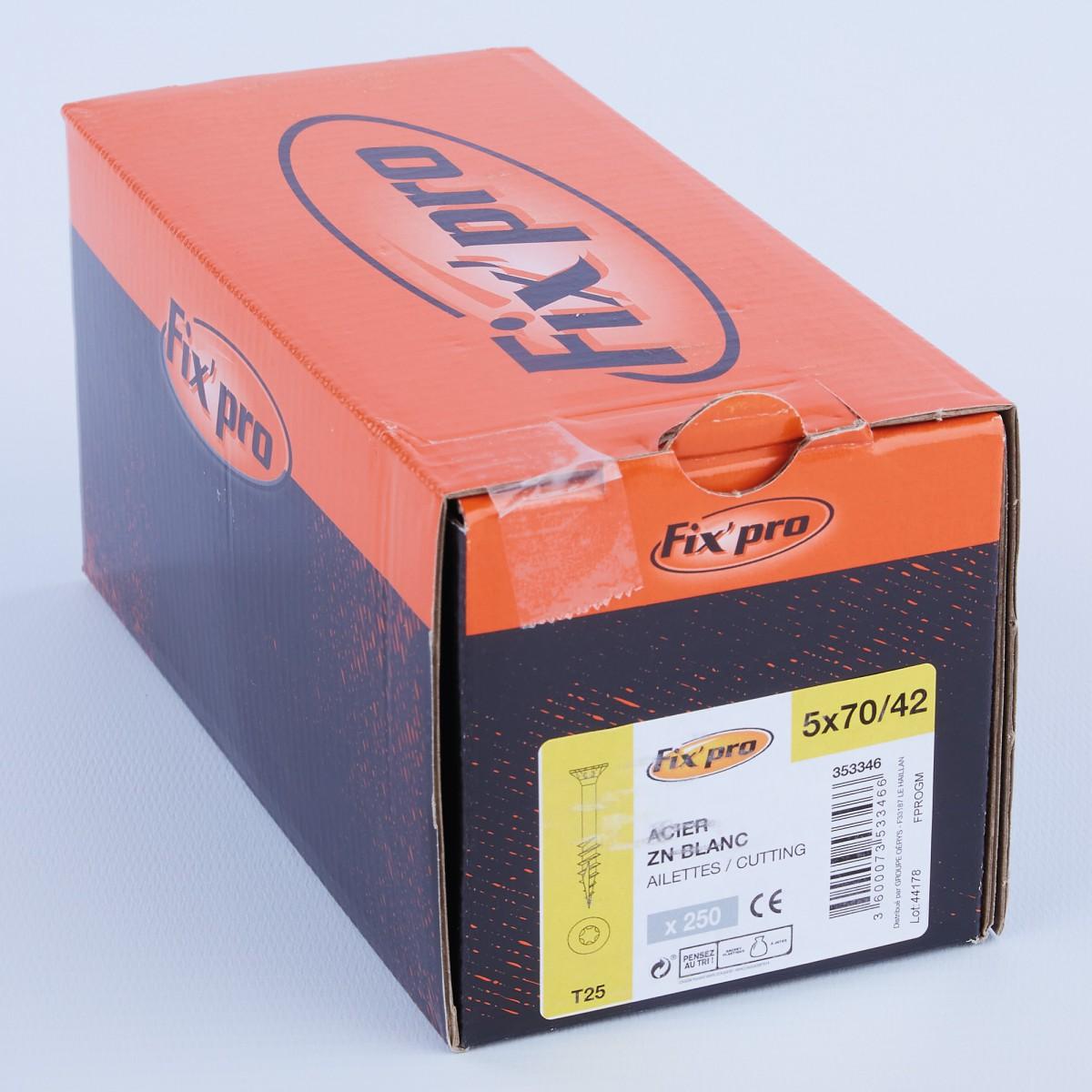 Vis à bois tête fraisée TX - 5x70/42 - 250pces - Fixpro