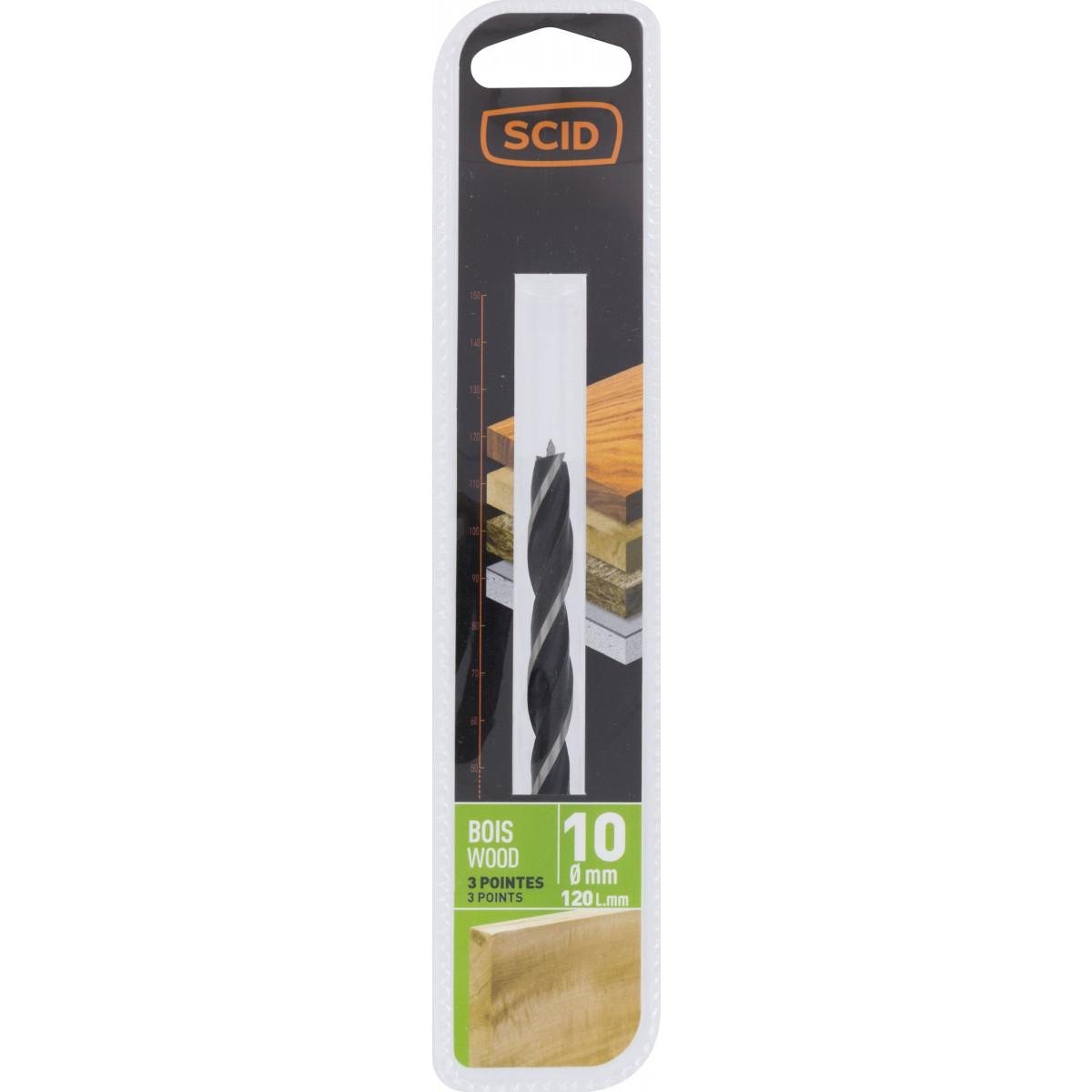 Mèche à bois 3 pointes SCID - Longueur 120 mm - Diamètre 10 mm
