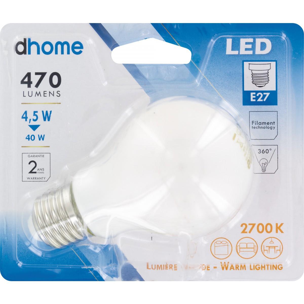 Ampoule LED standard à filament E27 dhome - 470 Lumens - 4,5 W - 2700 K