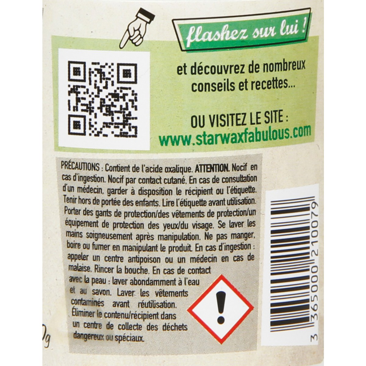 Sel d'oseille ou acide Oxalique Starwax The Fabulous - 400 g
