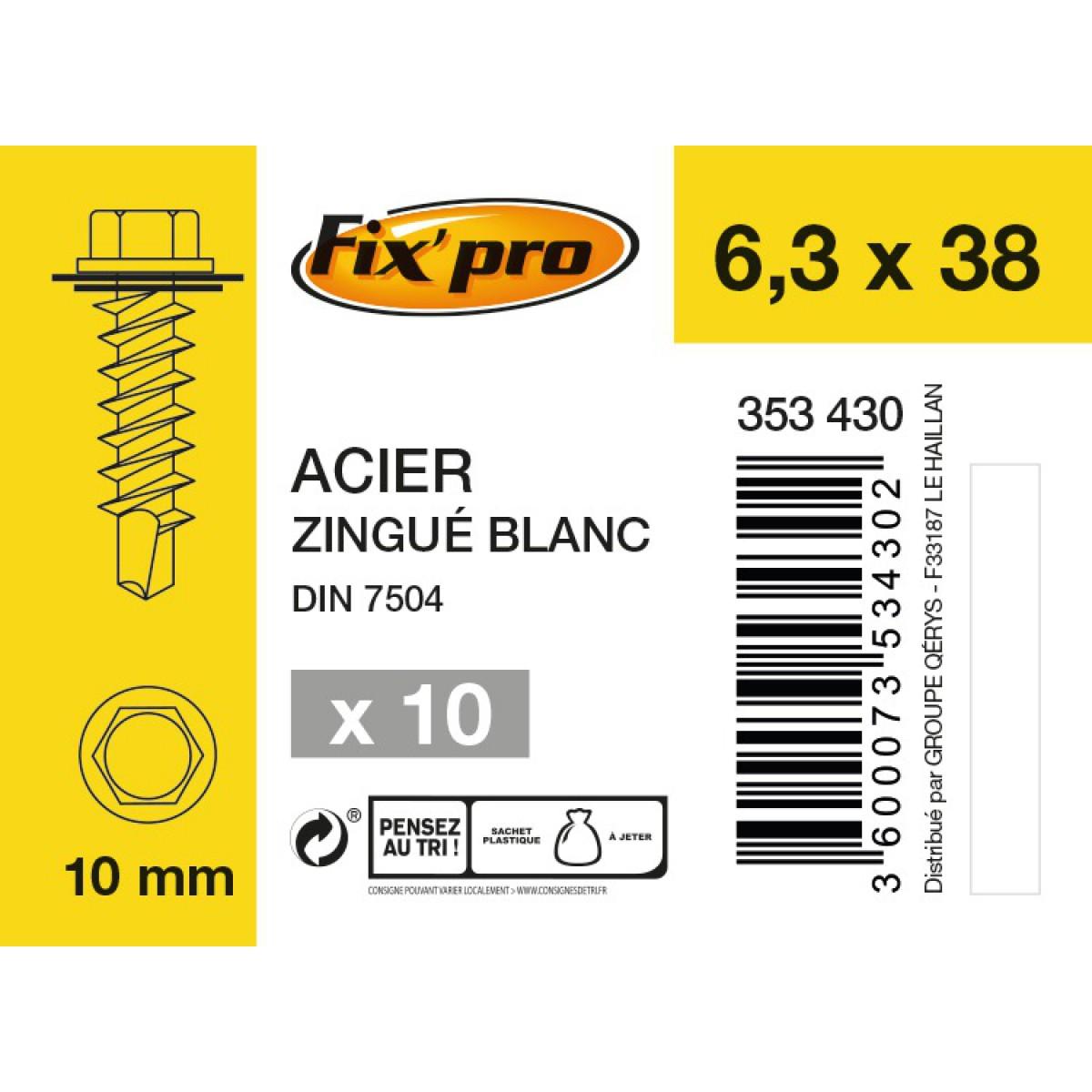 Vis tête hexagonale autoforeuse + rondelle acier zingué - 6,3x38 - 10pces - Fixpro