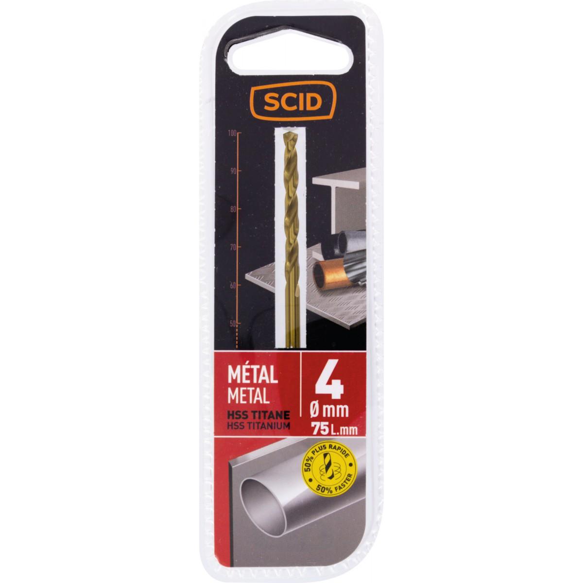 Foret métal HSS titane SCID - Longueur 75 mm - Diamètre 4 mm