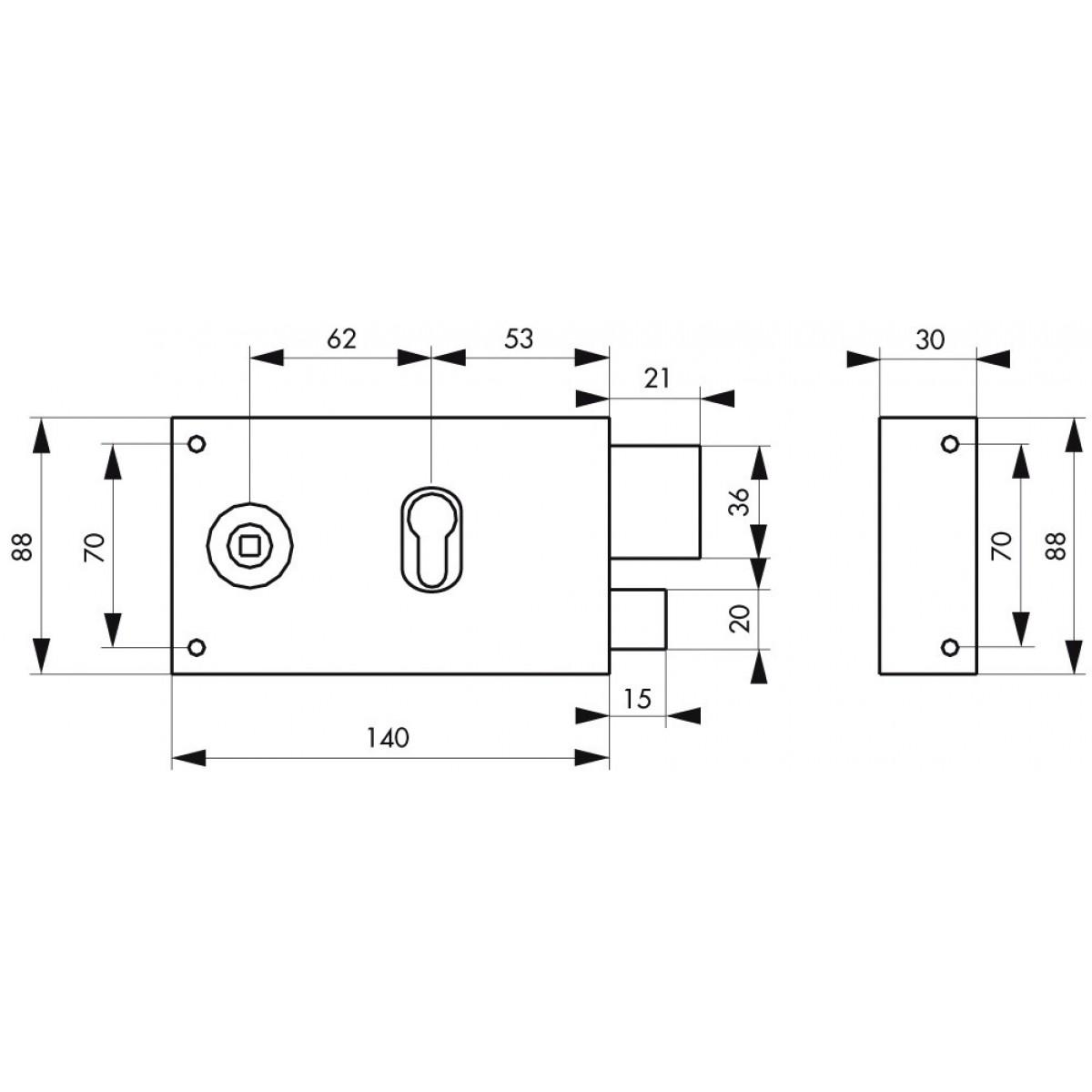 Serrure horizontale pour cylindre à fouillot Thirard - Noir - Droite - Section 6 mm