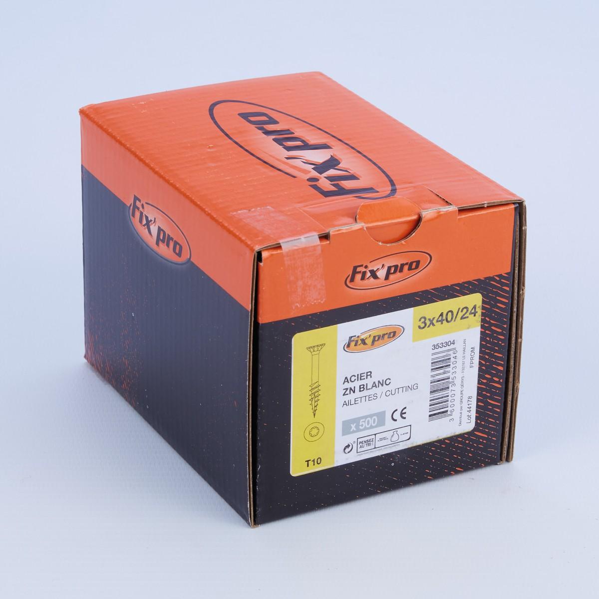 Vis à bois tête fraisée TX - 3x40/24 - 500pces - Fixpro