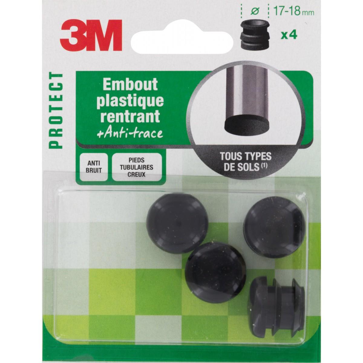 Embout rentrant plastique noir 3M - Diamètre 17 mm - Vendu par 4