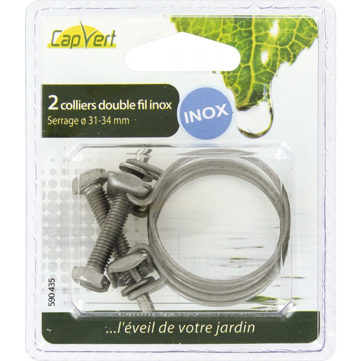 Collier double-fil inox Cap Vert - Diamètre 31 - 34 mm - Vendu par 2