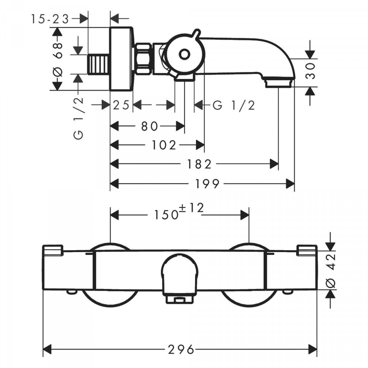 Mitigeur thermostatique bain-douche Ecostat 1001 CL - Hansgrohe