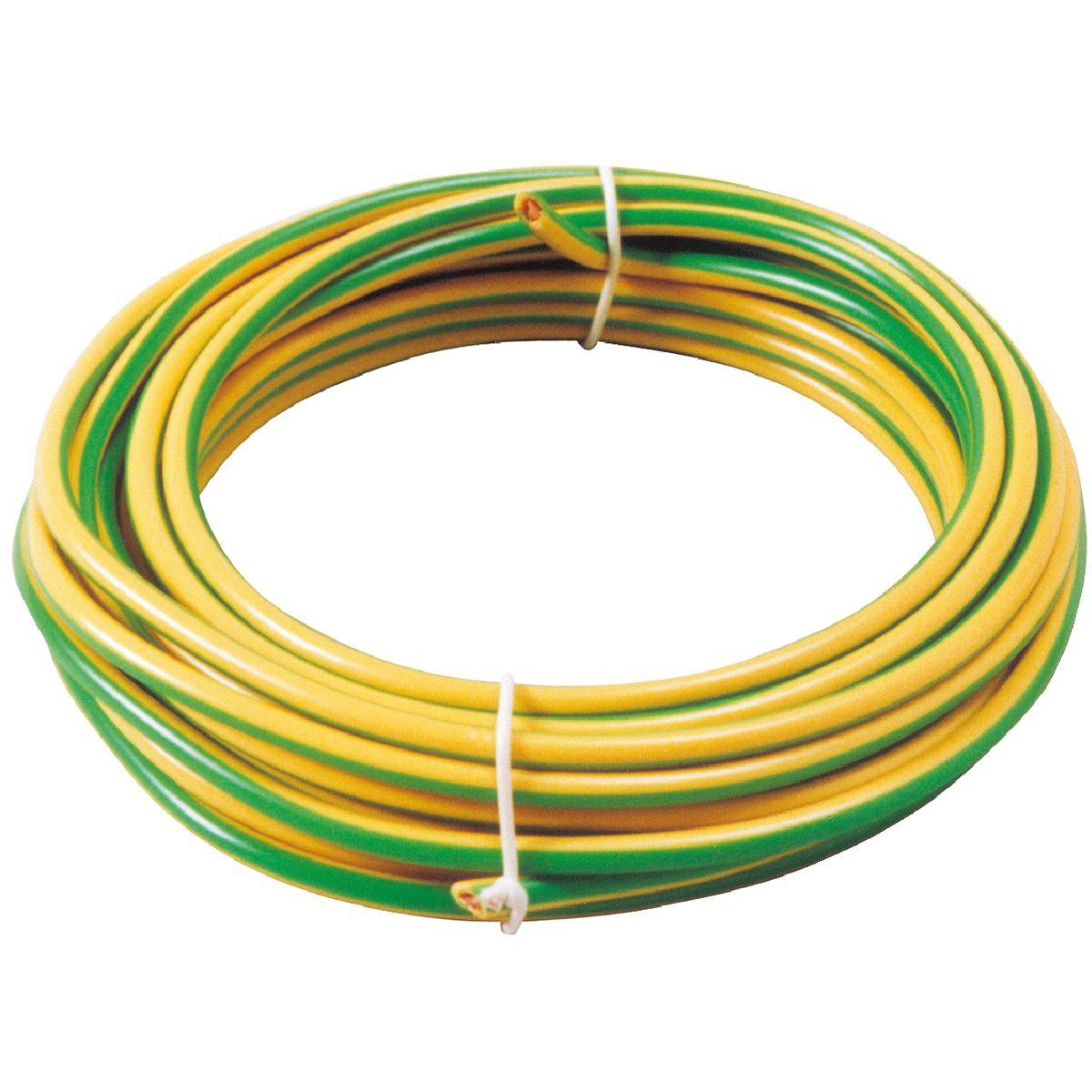 Fil H07 V-U 1,5 mm² Dhome - Longueur 10 m - Vert / jaune