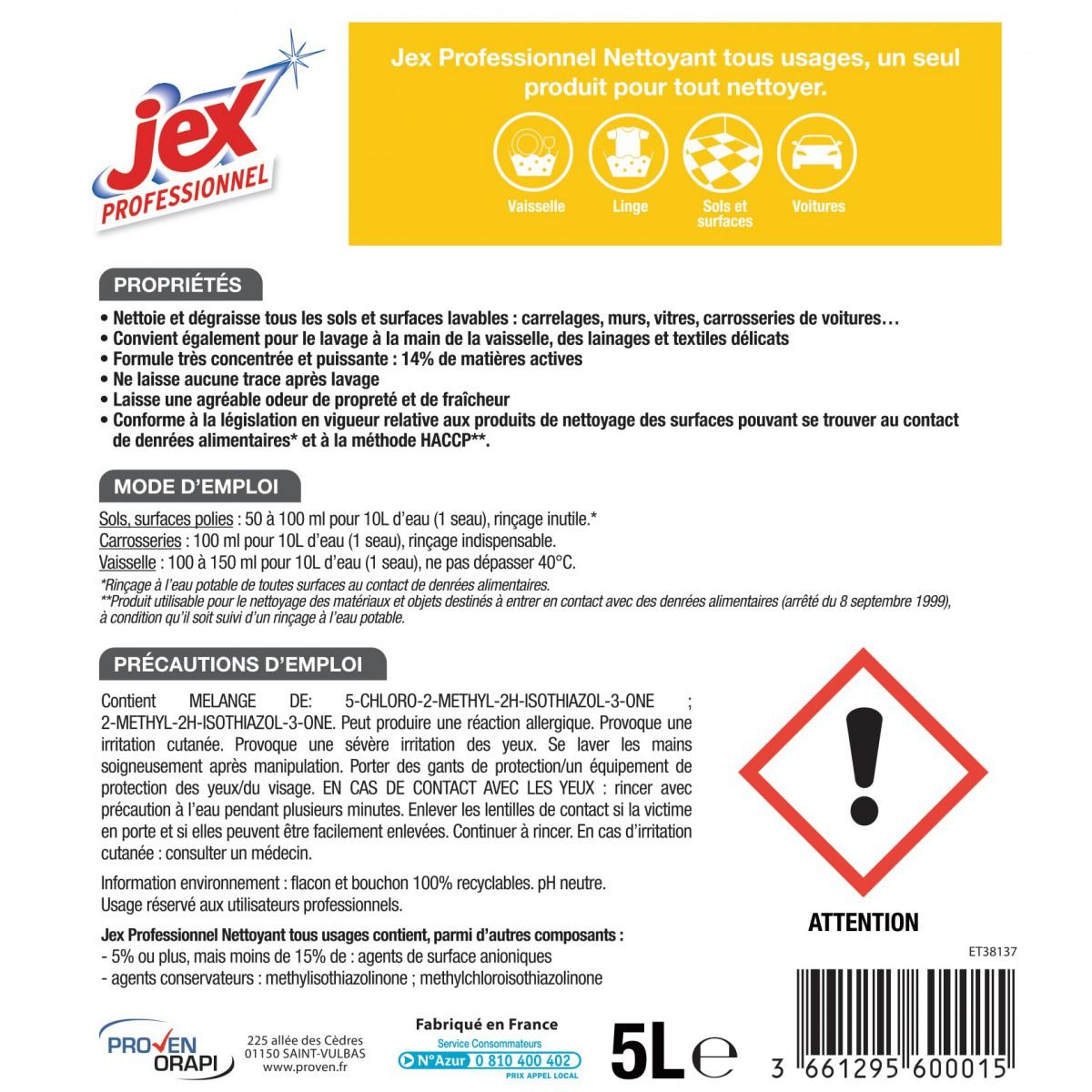 Nettoyant multi-usages Jex - Flacon 5 l