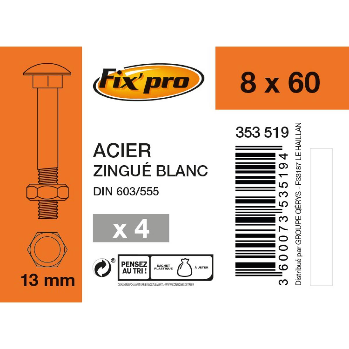 Boulon Japy tête ronde collet carré acier zingué - 8x60/22 - 4pces - Fixpro