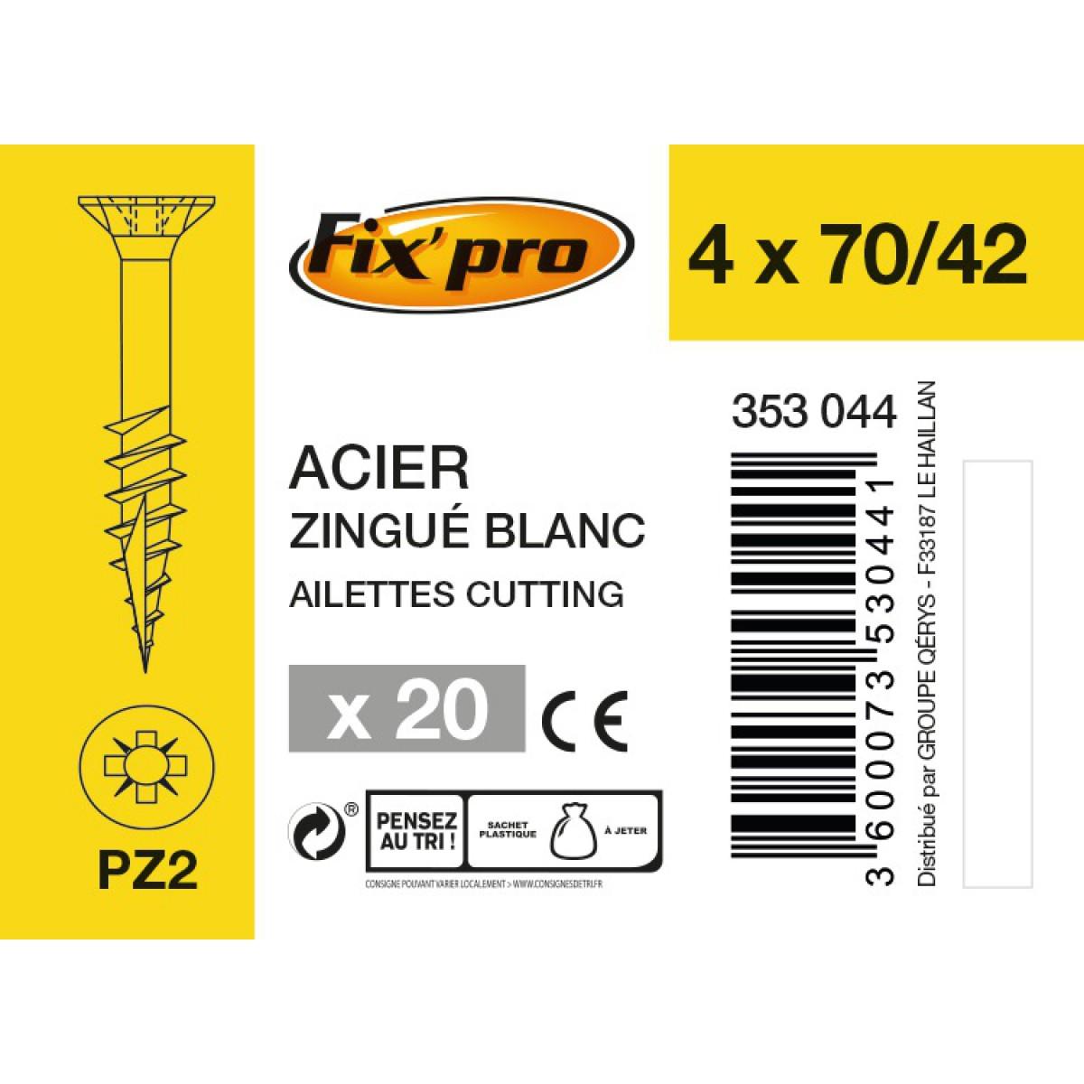 Vis à bois tête fraisée PZ - 4x70/42 - 20pces - Fixpro