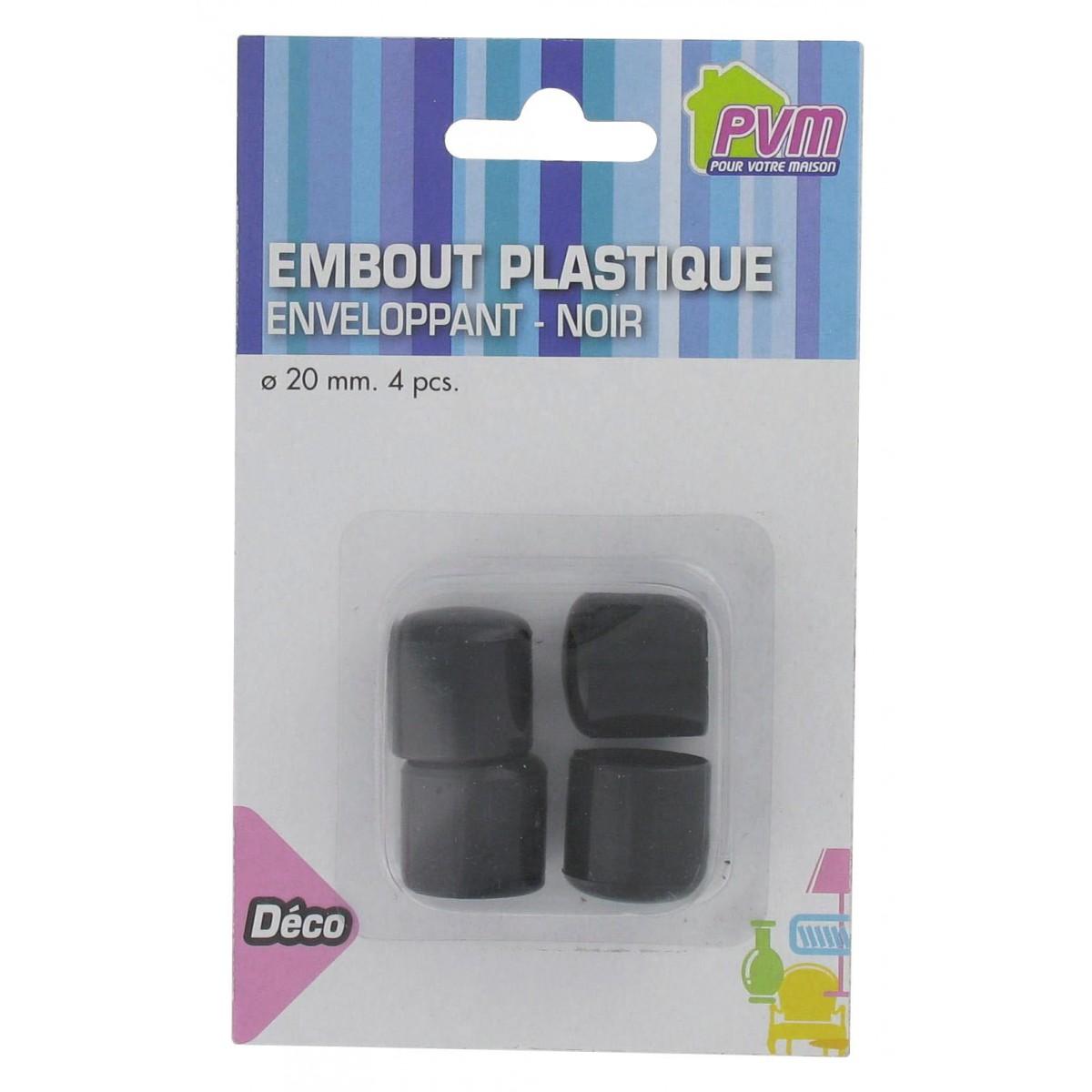 Embout enveloppant plastique noir PVM - Diamètre 20 mm - Vendu par 4