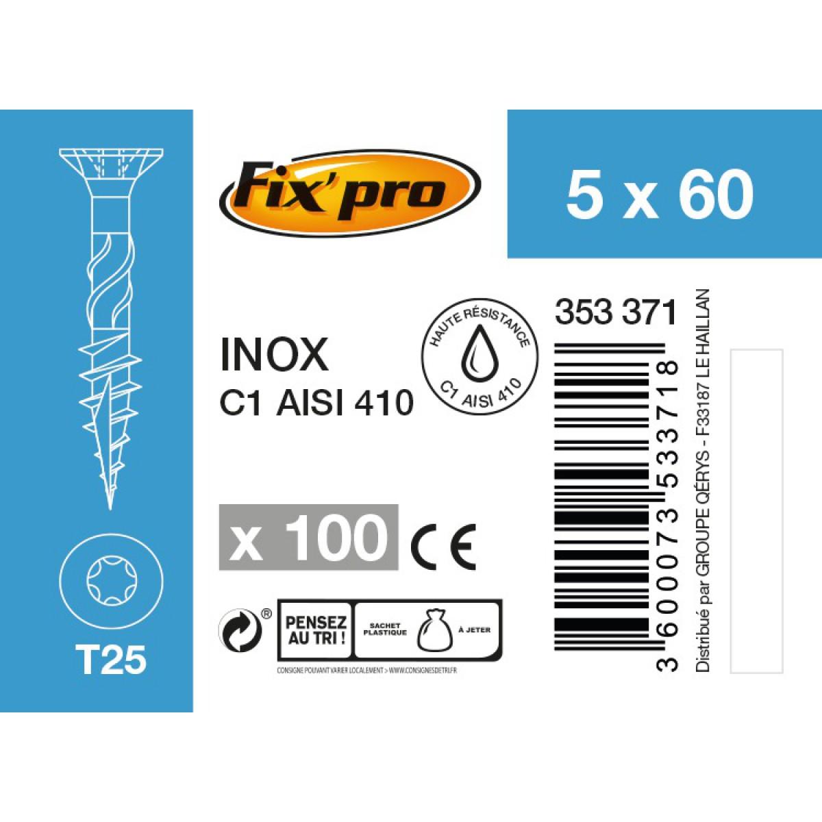 Vis terrasse inox C1 - 5x60 - 100pces - Fixpro