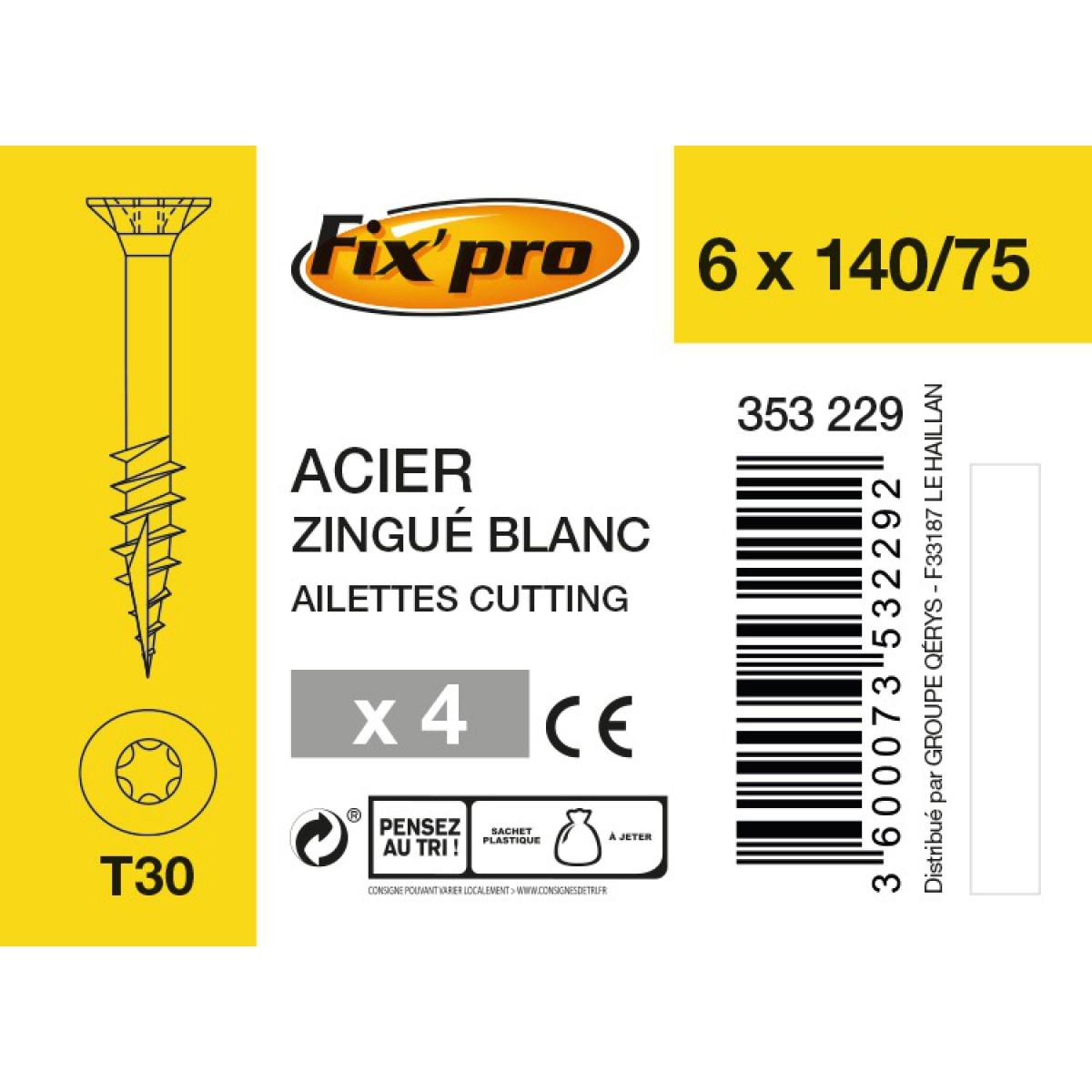 Vis à bois tête fraisée TX - 6x140/75 - 4pces - Fixpro