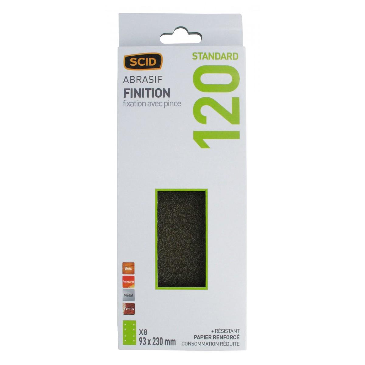 Patin fixation avec pince SCID - 8 trous parallèles - Grain 120 - Dimensions 93 x 230 mm - Vendu par 8