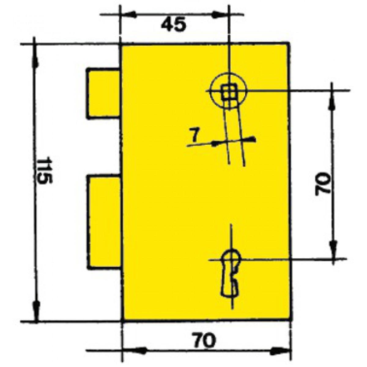 Serrure de sûreté verticale à fouillot 8 gorges Vachette - Droite
