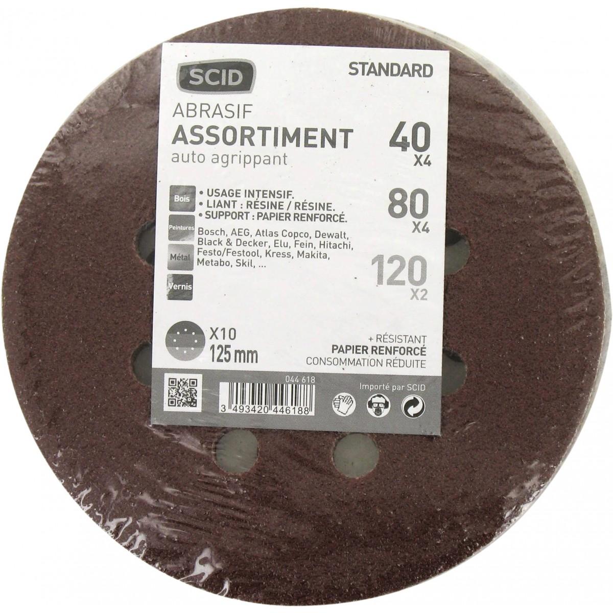 Disque auto-agrippant SCID - 8 trous - Grain 40, 80, 120 - Diamètre 125 mm - Vendu par 10