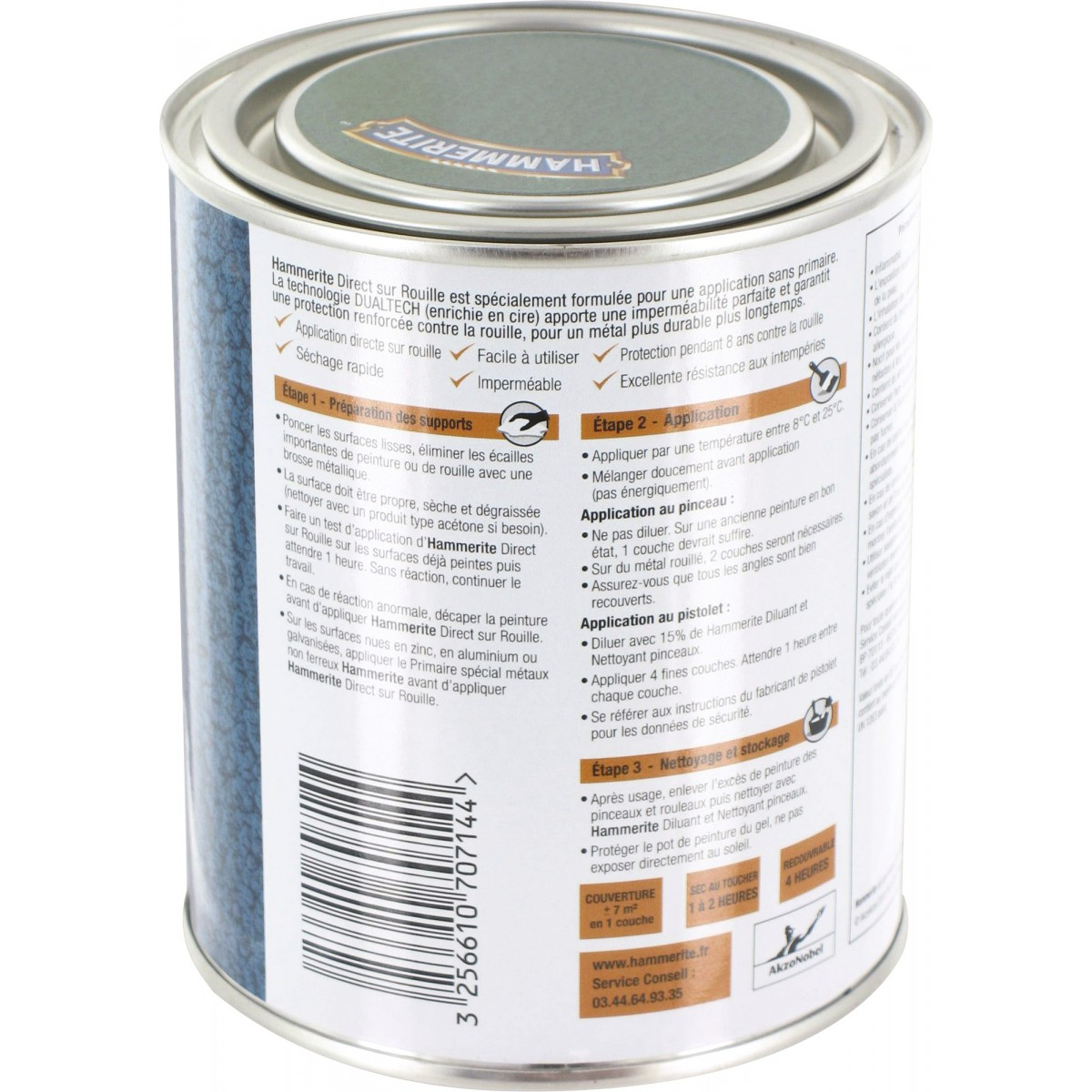 Peinture martelée Hammerite - Boîte 750 ml - Vert épicéa