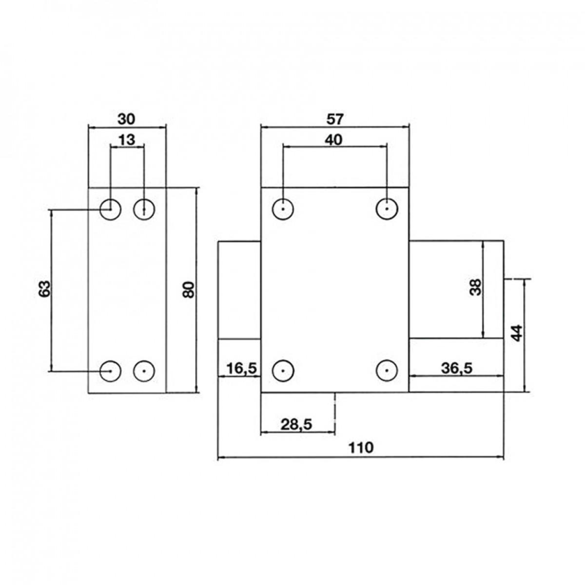 Verrou de sureté bouton et cylindre série Eclador Vachette - Longueur 40 mm