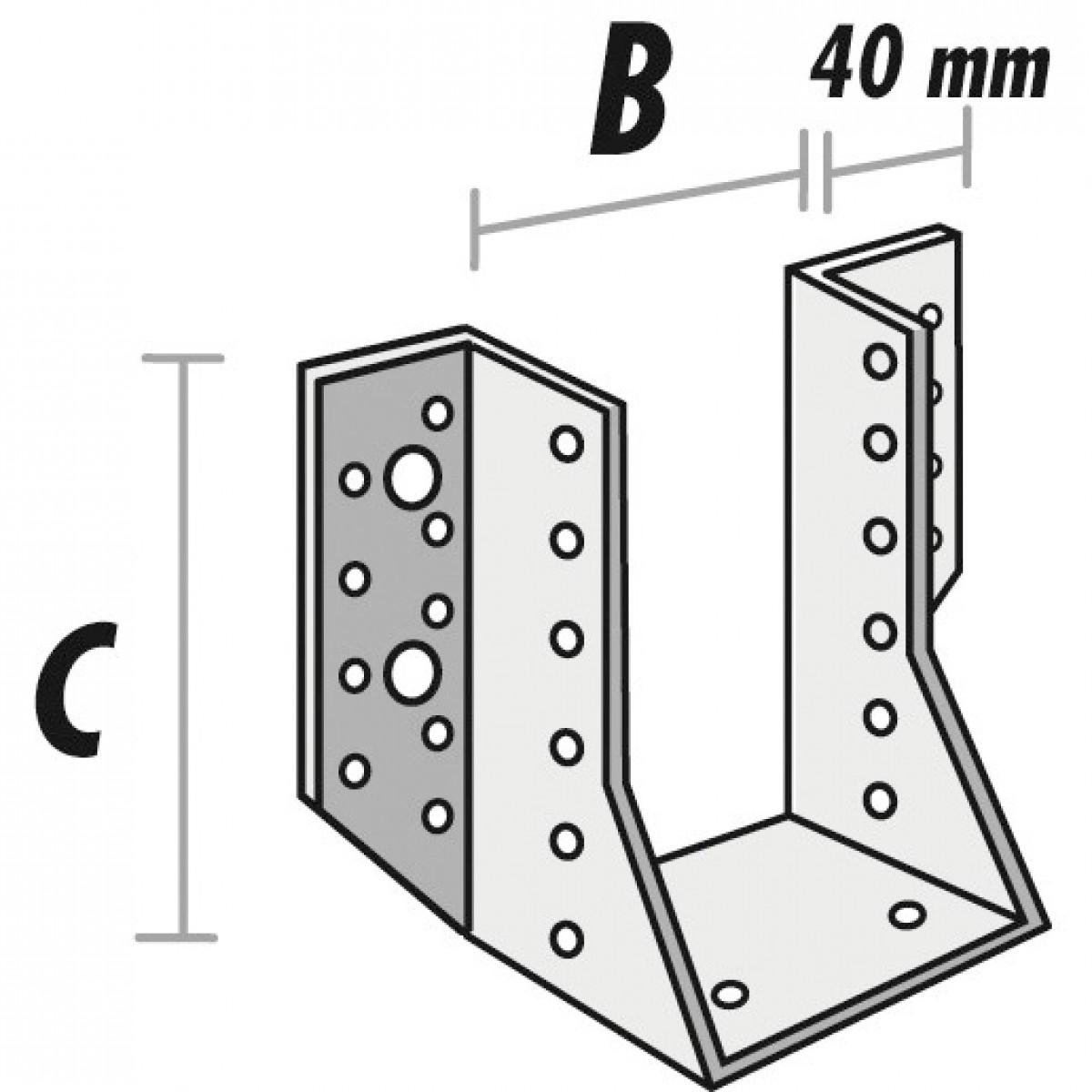 Sabot de solive aile extérieure - 200 mm x 100 mm - Alberts