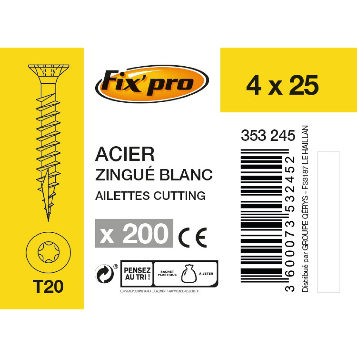 Vis à bois tête fraisée TX - 4x25 - 200pces - Fixpro