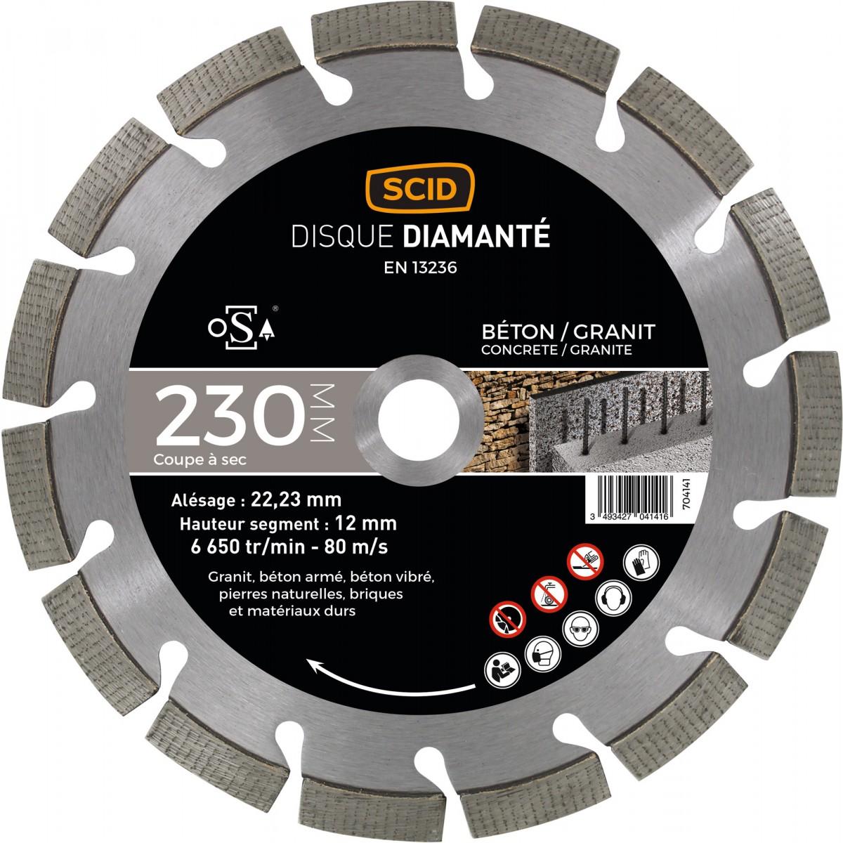 Disque diamanté béton granit expert SCID - Diamètre 230 mm