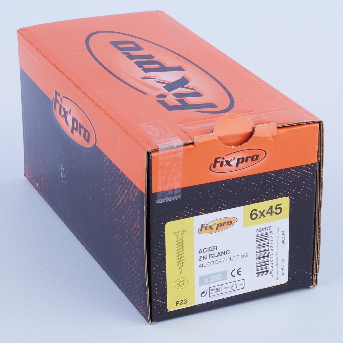 Vis à bois tête fraisée PZ - 6x45 - 250pces - Fixpro