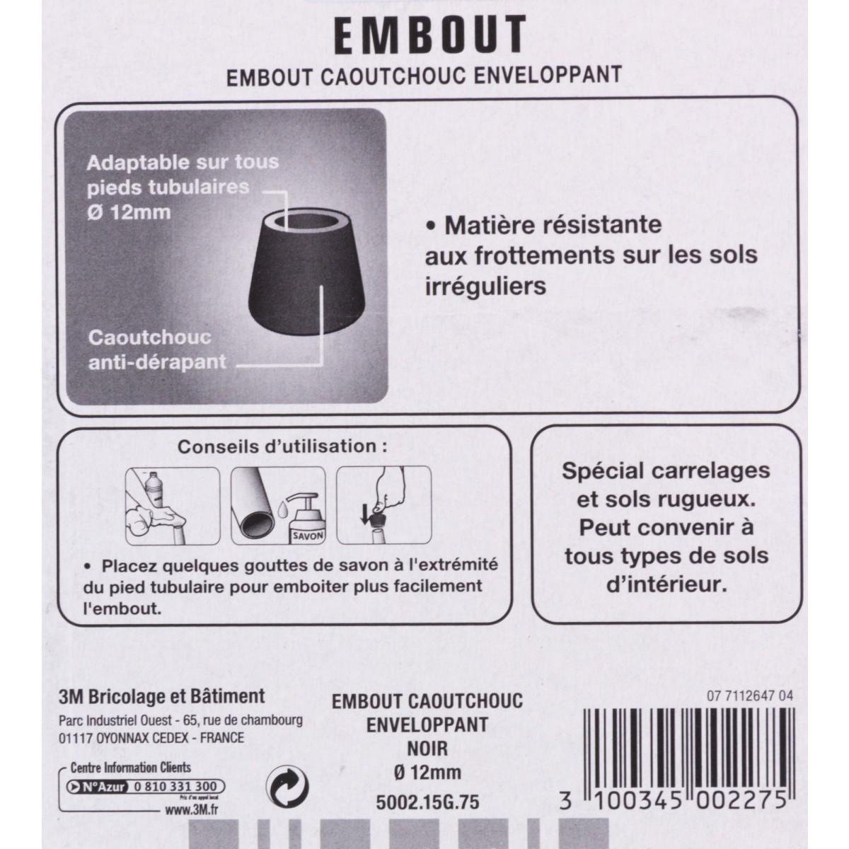 Embout caoutchouc enveloppant antidérapant 3M - Diamètre 12 mm - Vendu par 4