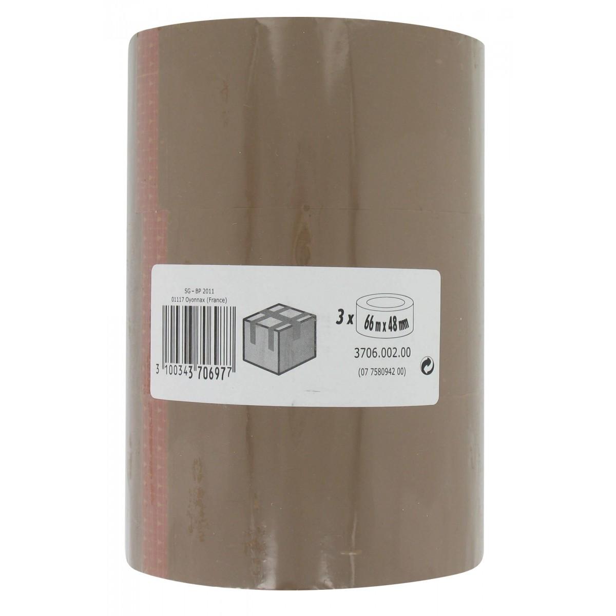 Adhésif emballage Gpi - Longueur 66 m - Largeur 48 mm - 3 rouleaux