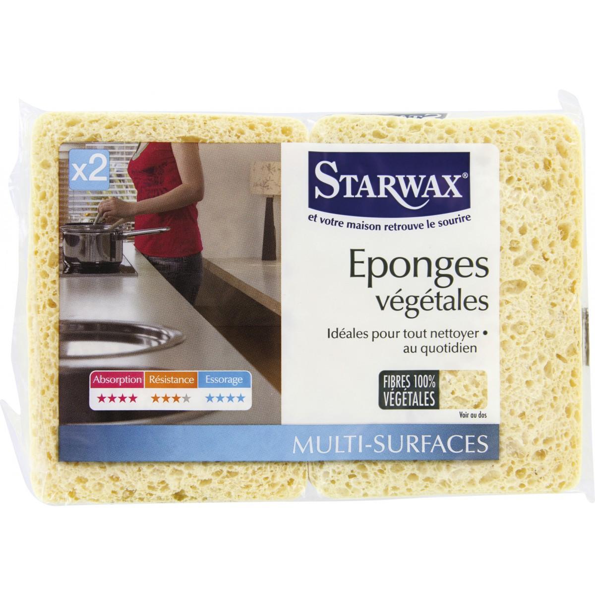 Eponge végétale bordée Starwax - Moyen modèle - Vendu par 2