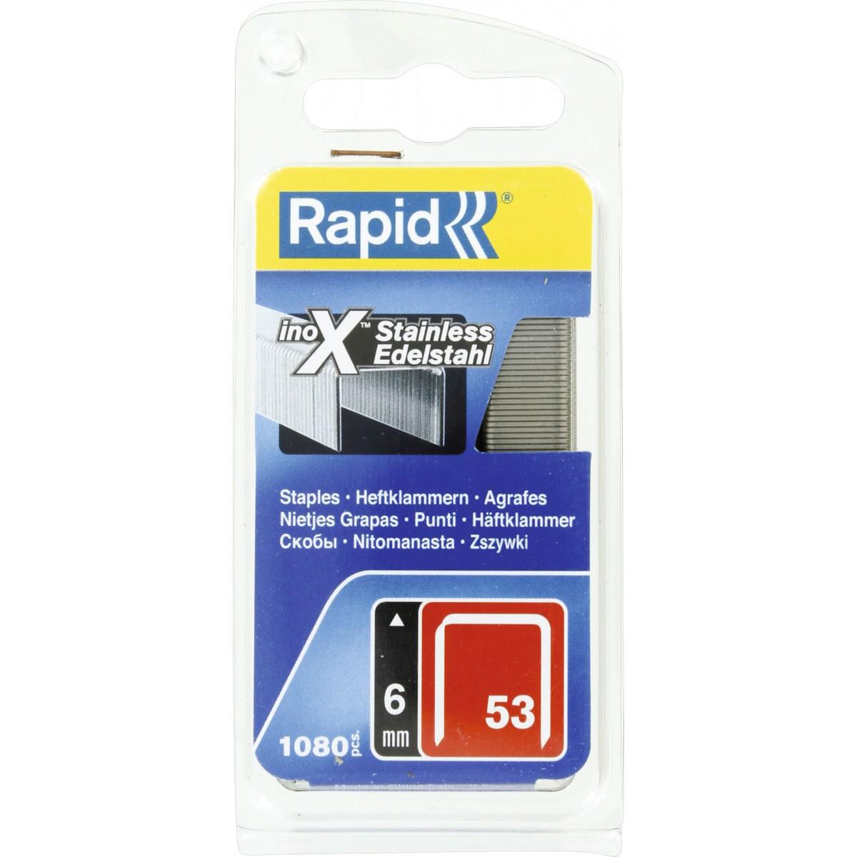Agrafe inox n°53 Rapid Agraf - Hauteur 6 mm - 1080 agrafes