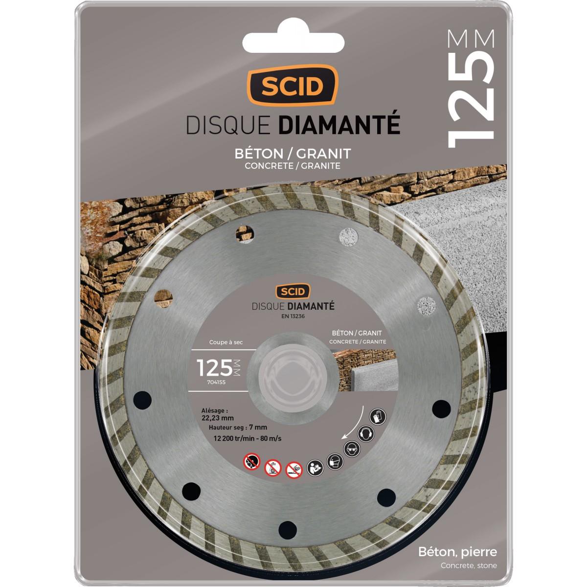 Disque diamanté béton granit bricolage SCID - Diamètre 125 mm