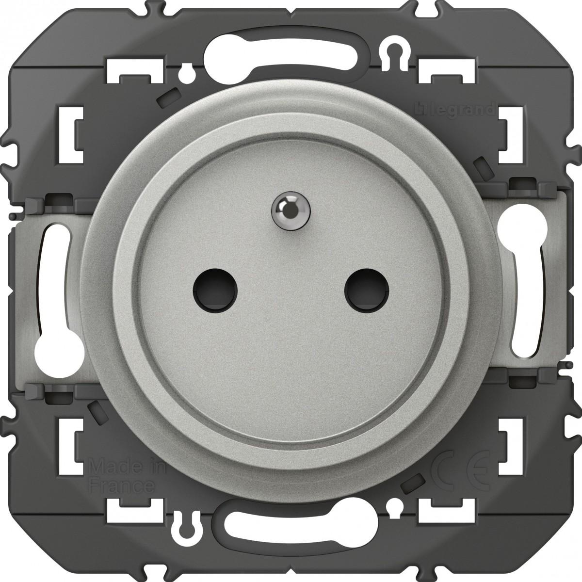 Prise de courant 2P+T composable  faible profondeur Dooxie Legrand - Aluminium