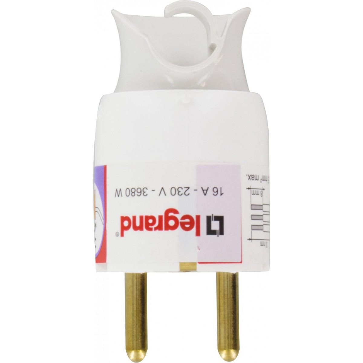 Fiches plastique à orientation du câble 2P+T 16 A Legrand - Mâle - Blanc