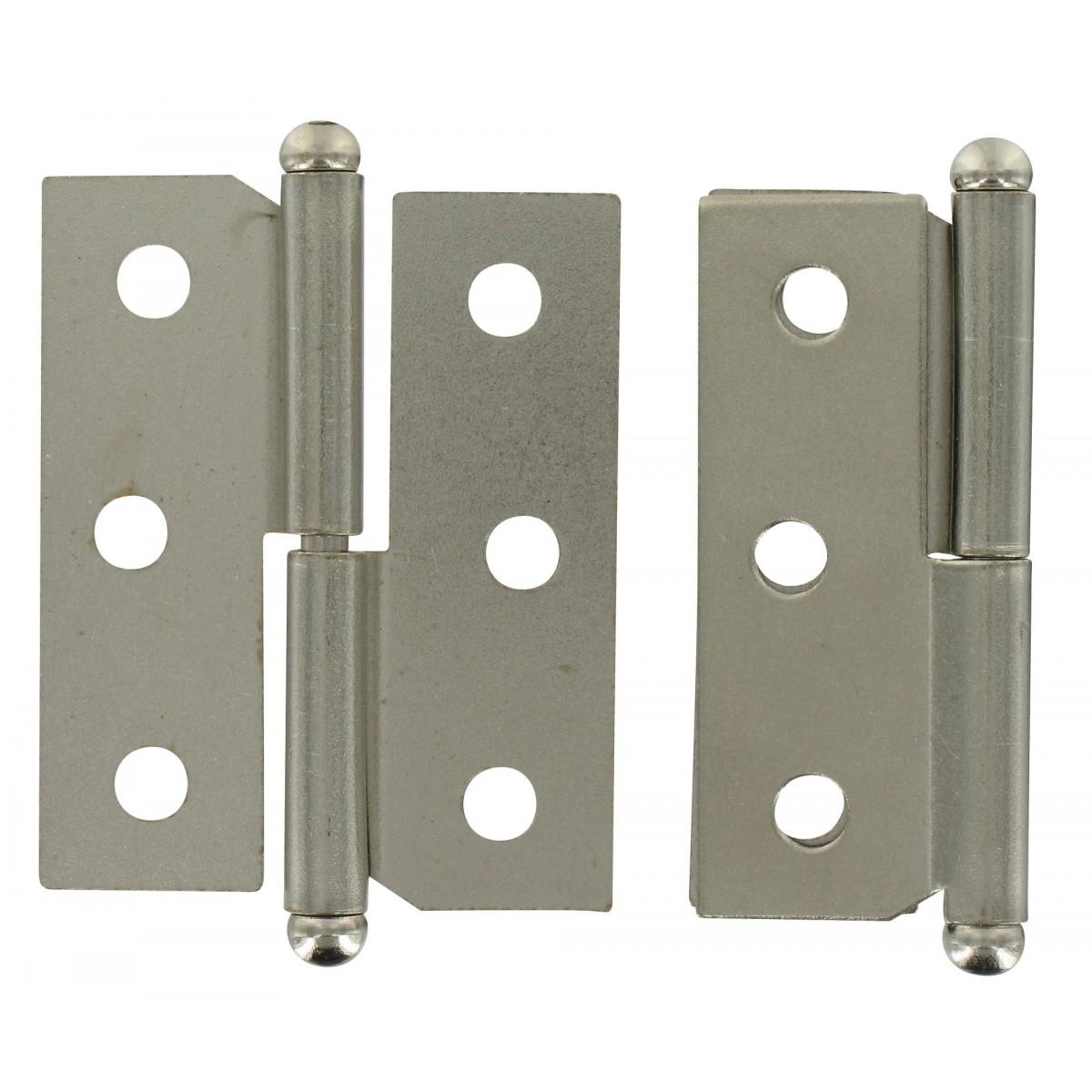 Paumelle de meuble acier nickelé PVM - Droite - Hauteur 50 mm - Largeur 40 mm - Vendu par 2