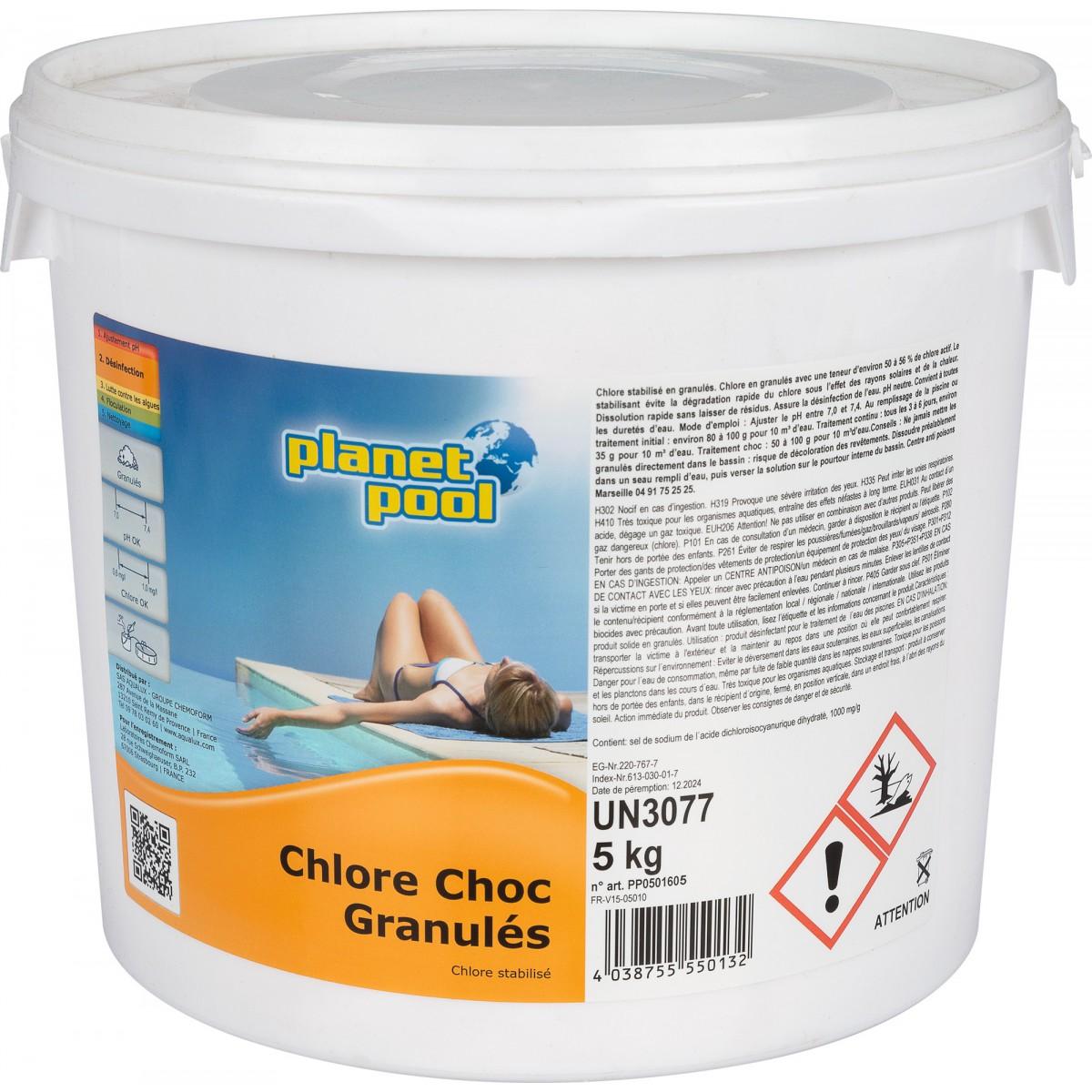 Chlore choc granulés Planet pool - Poids 5 kg