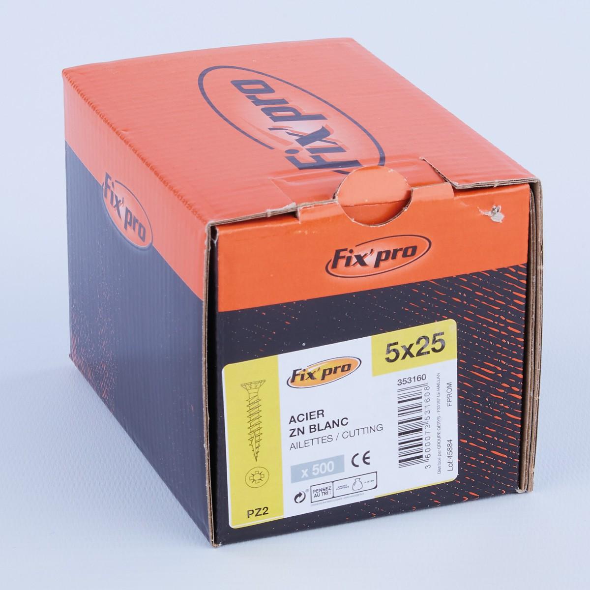 Vis à bois tête fraisée PZ - 5x25 - 500pces - Fixpro