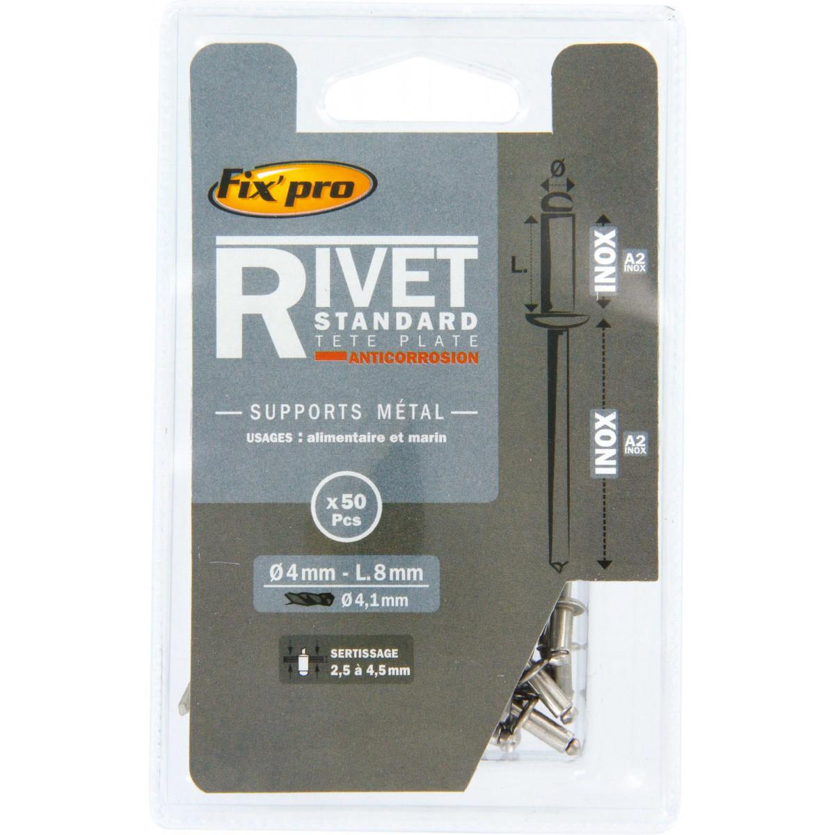 Rivet aveugle tête plate inox / inox A2 Fix'Pro - Longueur 8 mm - Diamètre 4 mm - Vendu par 50