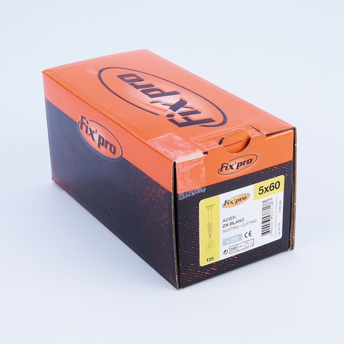 Vis à bois tête fraisée TX - 5x60 - 250pces - Fixpro