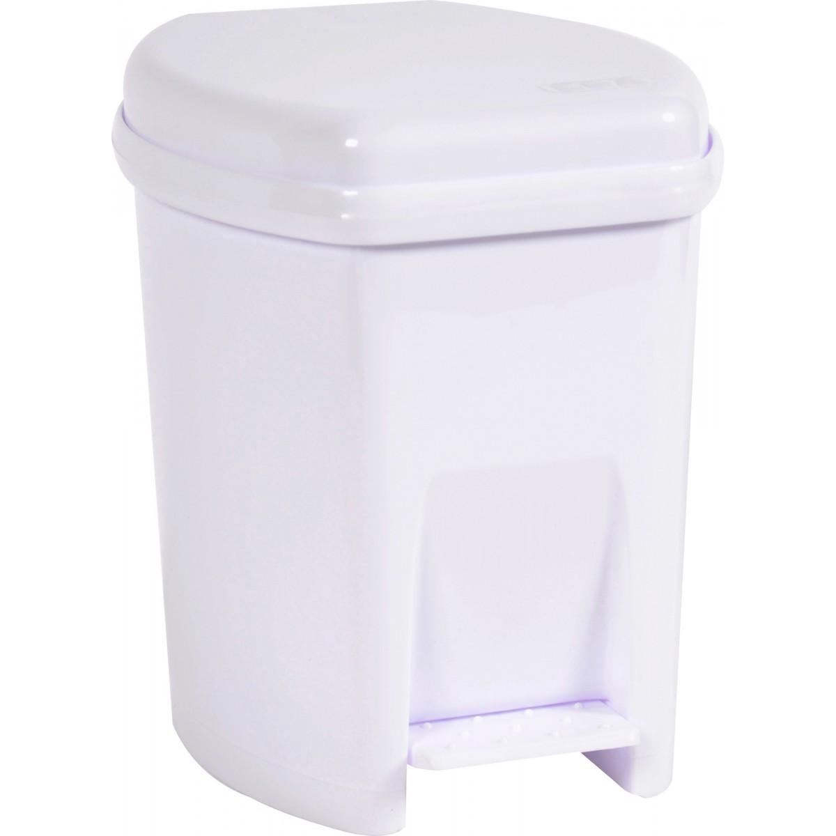 Poubelle plastique Eda - 6 l - Blanc